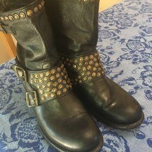 Frye Jenna black 8 studded buckle boot